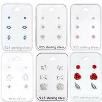 925 Sterling Silver Studs Earrings Set Unicorn Dog Round Paw Feather 3 Pairs Set