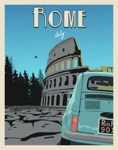 Rome Italy Vintage Style-Retro Travel Poster-Deco Vitage Wall  Art- Poster Print