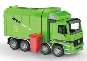 Friction Powered Recycling Garbage Truck 14 Inches Trash Garbage Rear Dumping