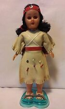 """Vintage 7"""" Native American Doll with Twin Papooses & Stand Made in Hong Kong"""