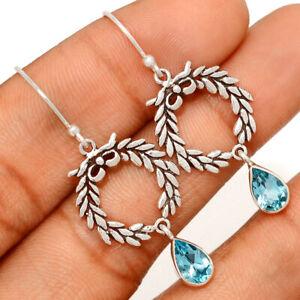 Blue Topaz 925 Sterling Silver Earrings Jewelry BE44971 231K