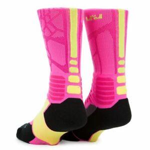 Nike Hyper Elite LEBRON  Basketball Socks SX4885-677 MEDIUM  (Fits Men 6-8) Pink