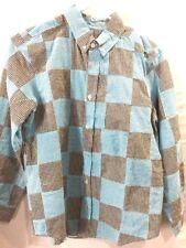 Kellys Kids Boys Shirt Size 14-16 Long Sleeve Large Checks Blue Brown ButtonDown