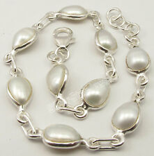 """925 Solid Pure Sterling Silver White Pearl Bracelet 8.3"""" Columbus Day Sale"""