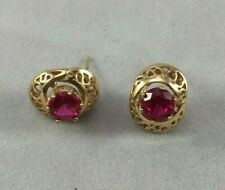Filigree Studs Earrings 10k Yellow Gold Synthetic Ruby
