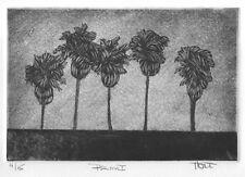 Palm tree art, original print, etching aquatint silk mezzotint botanical print