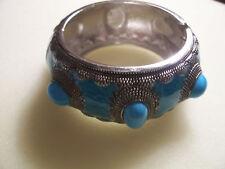 """Fashion bangle bracelet,turquoise enamel,1 1/4""""wide"""