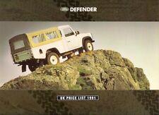 Land Rover Defender Prices & Options 1991 UK Market Foldout Brochure 90 110 130
