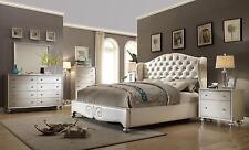 McFerran B1708-Q Contemporary White 4Pcs Queen Platform Bedroom Set