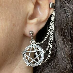 Pentacle Ear Cuff Stud and Chains Earring Pagan Wicca Lammas Silver Pentagram