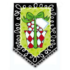 NEW DOUBLE SIDED EVERGREEN FLAG BY TOM TOM POLKA DOT CHRISTMAS PRESENT 12.5 x 18