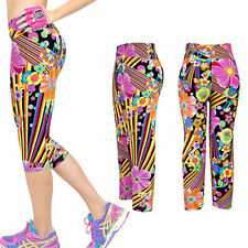 Snazzy's Children's Multi Flora kids Teens Funky cropped cycling fun Leggings