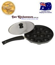 12 Dimple Non Stick Poffertjes Mini Dutch Pancake Cake Pan with Handles & SS Lid