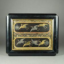 Antiguo Chinoserie Laca oro negro de la imagen grúas Circa 1850