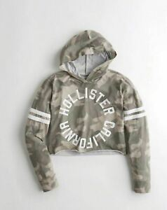 Hollister Womens Hooded Crop Graphic Tee, Camouflage - BNWT!