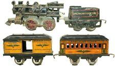 VINTAGE PRE-WAR AMERICAN FLYER CAST IRON CLOCKWORK TRAIN SET