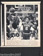 Julius Erving vs Cavaliers 1985 Small Vintage A/P Laser Wire Photo with caption