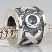 S1578 Sterling Silver XOXO Hugs and Kisses Bead for European Charm Bracelet