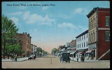 1910's Antique Postcard ~ Main Street ~ LOGAN Ohio ~ Free Shipping