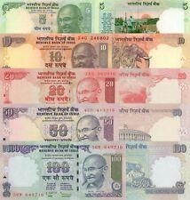 India 5 Note Set: 5 to 100 Rupees (2011) - p94Ac,p95w,p96m,p97w,p98z UNC