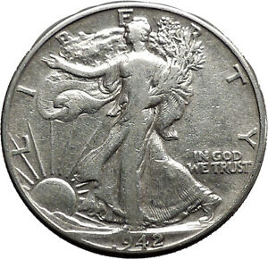 1942 WALKING LIBERTY Half Dollar Bald Eagle United States Silver Coin i44653