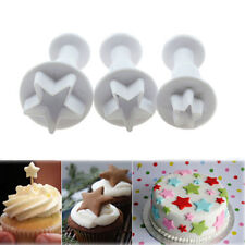 3Pcs/Set Christmas Mould Star Cake Plunger Biscuit Cookies Cutter Tools