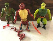 MOTU 3 figures w/weapons: Kobra Khan, Whiplash, Rattlor; Original Complete Used