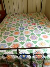 Antique Quilt Top Grandmothers Flower Garden Variant ' Hedgerows' Hand Pieced NM