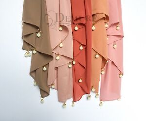 Chiffon Hijab Pearl Rings Crystal Scarf Elegant Sarong Shawl Wrap
