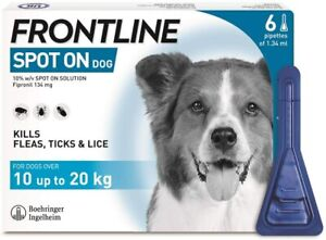 Frontline Spot On Flea and Tick Treatment for Medium Dogs, Pack of 6 Pipettes