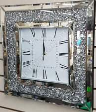 Square inlaid diamonds analogue wall clock with Roman numbers & mirror finish