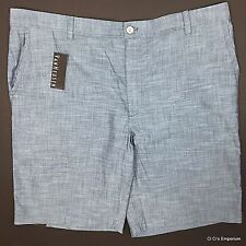 Van Heusen Oxford Shorts Sz 42 Blue Flat Front Cotton Chambray Straight Fit
