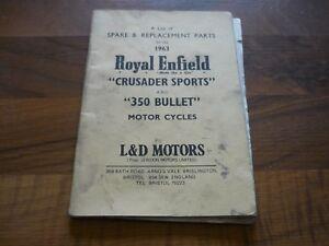 ROYAL ENFIELD 1963 Crusader Sports / 350 Bullet MOTOR CYCLES Spare Parts Catalog