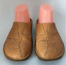 El Naturalista Tan Leather Stitched Design Mules Shoes Slip-Ons Size 38 US 8