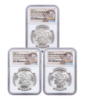 3-Coin Set - 1887-89 Morgan Silver Dollar New York Bank Hoard NGC BU SKU54943