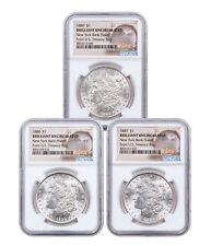 3-Coin Set - 1887-89 Morgan Silver Dollar New York Bank Hoard NGC BU SKU54943