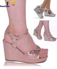 New Women's Ladies Wedding Platform Wedge Bow Shinny Sandals Evening Prom Shoes