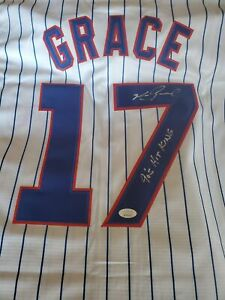 Mark Grace Signed White Chicago Cubs Jersey JSA - 90s Hit King Inscription