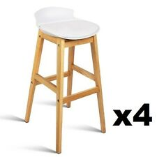 4x Oak Wood Bar Stools Wooden Barstool Dining Chairs Kitchen Plywood White 3621