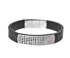 Emporio Armani EGS2004 Perforated S/Steel Logo Plaque Black Leather Bracelet