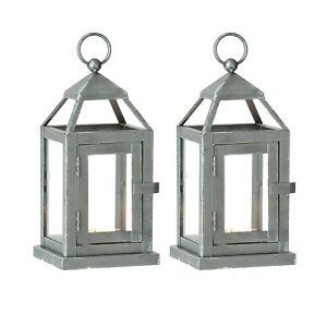 Set of 2 Silver Miniature Lanterns