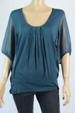 Jacqui E Polyester Short Sleeve Solid Women's Tops & Blouses