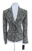 NWT Chapter One Black Ivory Contrast Paisley Print Blazer Jacket Sz 10 NEW