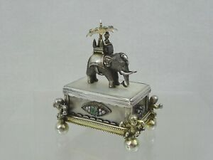 ANTIQUE GEM SET SILVER MOTHER OF PEARL SNUFF BOX ELEPHANT DIAMONDS EMERALDS 19c