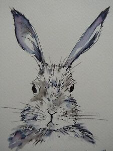 Original signed small pen and ink wash drawing of a hare on watercolour paper