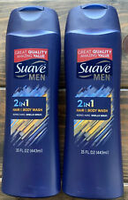 2 Suave Men 2 In 1 Hair & Body Wash 15oz Each