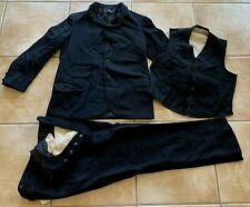 Vintage Antique 1920s / 1930s 3 piece button fly black wool men's suit