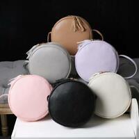 Women Round Leather Handbag Shoulder Messenger Satchel Bag Tote Square Casual PU