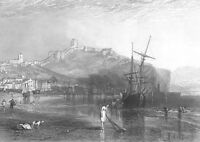 NORTH YORKSHIRE SCARBOROUGH CASTLE SHIP BOAT SEA COAST, 1875 Art Print Engraving