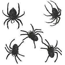 9 Assorted Halloween Gothic Black Glitter Spiders Party Cutouts Wall Decorations